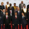 Presiden Jokowi bersama delegasi KAA