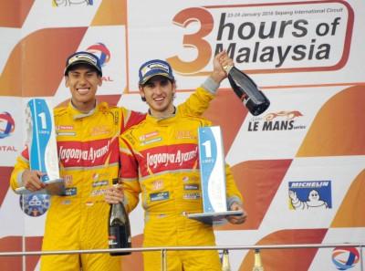 Sean Gelael dan Antonio Giovinazzi juara 1 lomba Le Mans Asia di Sirkuit Sepang, Malaysia, Minggu. (seangp)