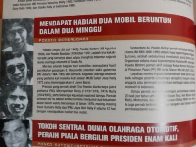 Poedio Oetojo dan dua adiknya sebagai jagoan reli wisata pada jamannya. Profil singkat mereka dalam buku Otomotif Indonesia. (arl)