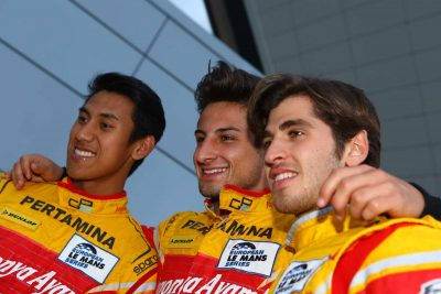 Sean Gelael, Mitch Evans dan Antonio Giovinazzi di Silverstone. (seangp)