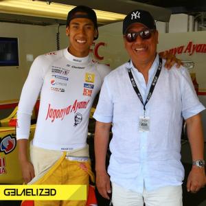 Sean bersama ayahnya Ricardo Gelael. Kuliah atau balap? Ya..Sean menjalani keduanya. (seangp)
