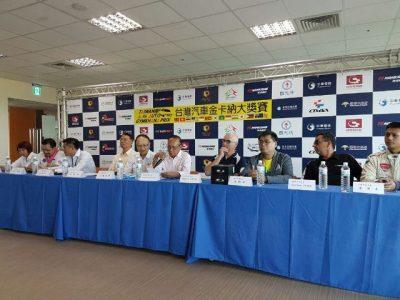 Poedio Oetojo dari PP IMI membereikan keterangan pada temu pers kejuaraan kejuaraanTaiwan Auto Gymkhana Prix 2016. (po)