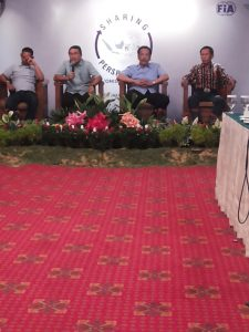 Ketua Umum PP IMI Sadikin Aksa memberikan keterangan kepada media usai menutup worhshop IMI di Jakarta, Rabu.  (arl)