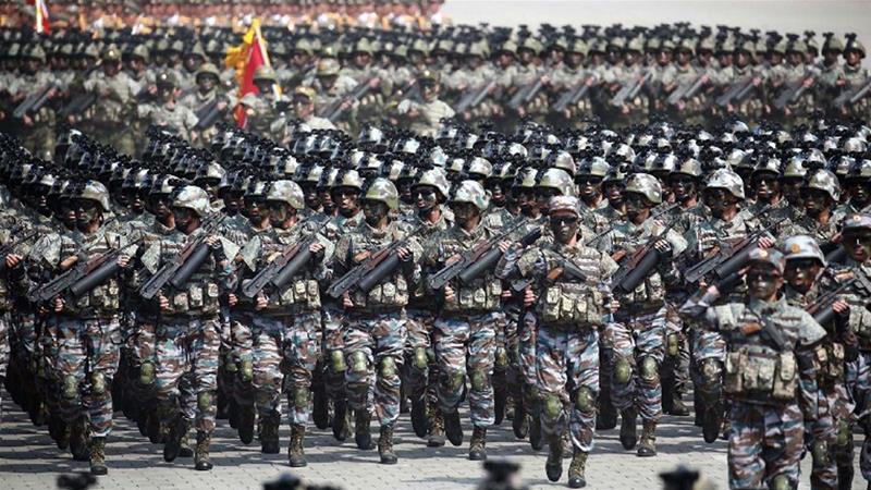 Tentara Korut dalam parade militer. (Foto: Al Jazeera)