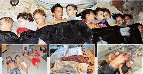 Pada gambar tampak para korban tewas akinat serangan senjata kimia yang dilakukan rezim Presiden Suriah Assad, di Khan Sheikhoun, Suriah, 4 April 2017. (Foto: US Daily Review)