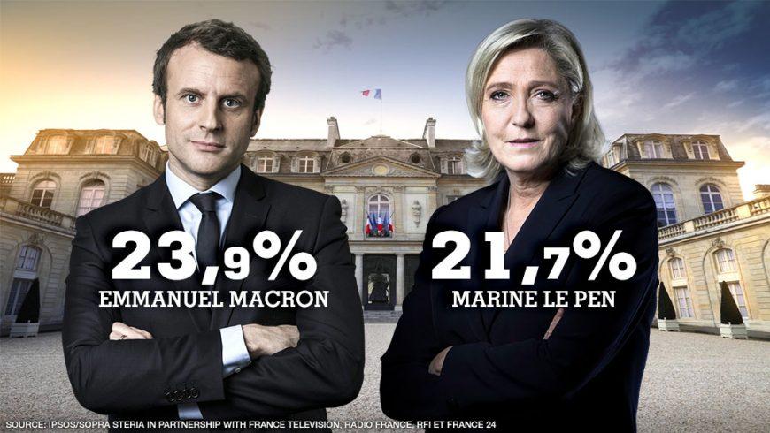 Macron (kiri) dan Marine Le Pen. (Foto: France 24)