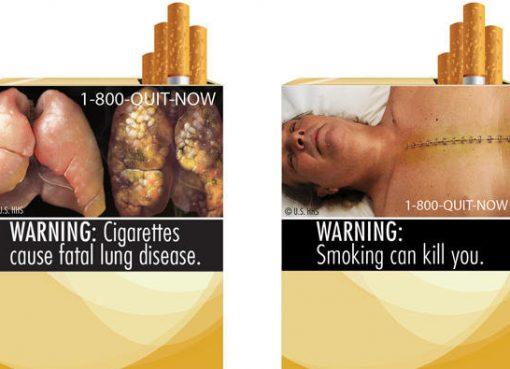 Foto di atas merupakan dua dari sembilan peringatan bahaya rokok yang dikeluarkan Food and Drug Administration (FDA) Amerika Serikat. (AP/Arab News)