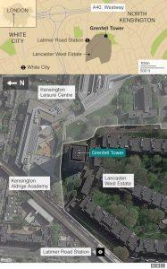 Peta lokasi kebakaran. (Hak paten BBC News)