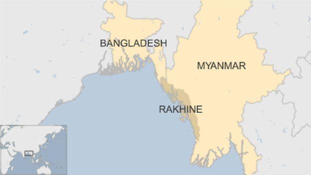 Peta Myanmar dan Bangladesh. (Ilustrasi BBC News)