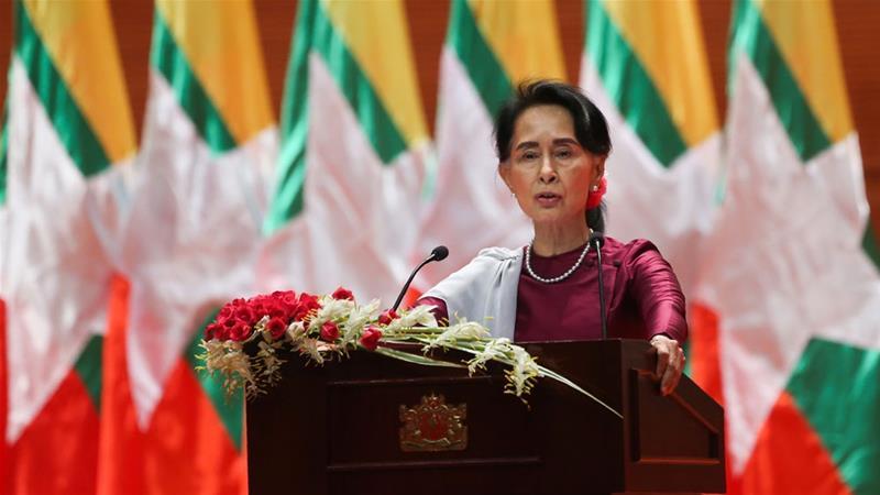 Suu Kyi dalam pidato kenegaraan di Myanmar. (Foto: AFP/Al Jazeera)