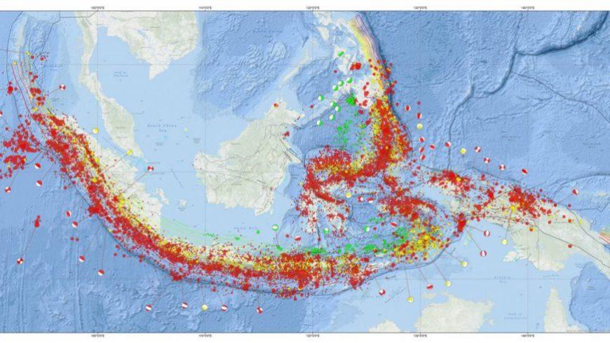 Peta tentang kemungkinan titik-titik gempa bumi di Indonesia. (Foto: BMKG)