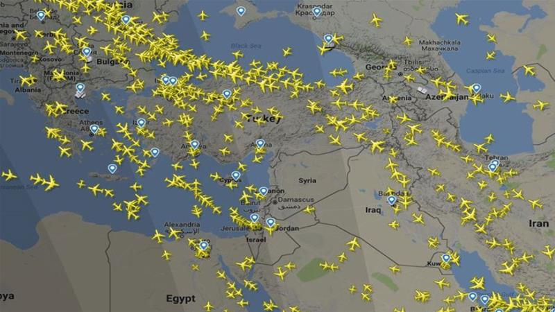 Peta yang menunjukkan penerbangan yang dialihkan setelah Euroncontrol mengeluarkan peringatan untuk menghindari Suriah (Sumber: FlightRadar24/Al Jazeera)