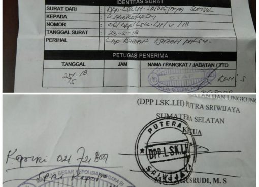 Surat tanda terima berkas yang diserahkan Ormas Sriwijaya, ke Bareskrim Mabes Polri. (Foto: Dok Ormas Sriwijaya)