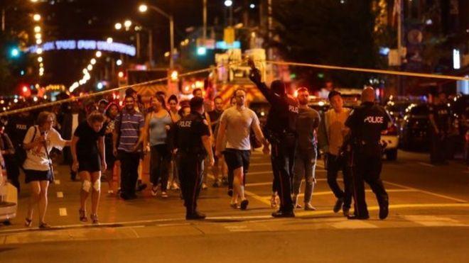 Lokasi terjadinya penembakan di Toronto. (Foto: Reuters/BBC News)