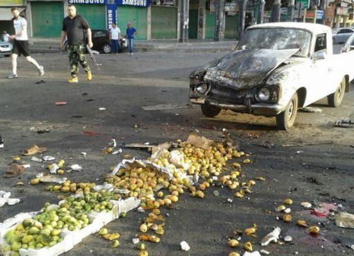 Salahsatu kendaraan bak terbuka yang ikut menjadi korban dalam bom bunuh diri di kota Sweida, Suriah selatan. (File foto: AFP/Arab News)