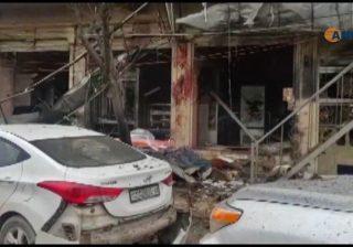 Lokasi terjadinya ledakan di kota Manbij, Suriah utara. (AFP dari video Hawar News Agency/Arab News)