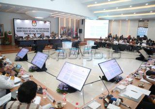 Rapat Pleno Terbuka Rekapitulasi Hasil Penghitungan Perolehan Suara Tingkat Nasional Pemilu 2019 di Luar Negeri, yang dimulai Sabtu (4/5). (Foto: KPU)