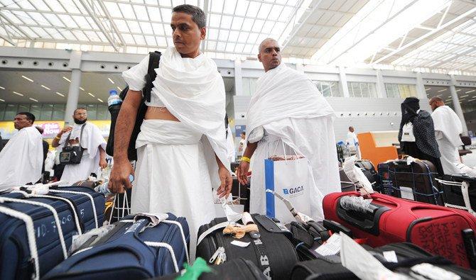 Bagasi peziarah Muslim ketika tiba di bandara Jeddah di ibukota Saudi pada 14 Juli 2014. (Foto: AFP/Arab News)