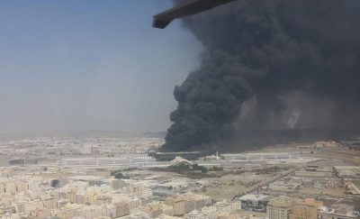 Kebakaran terjadi di stasiun Haramain Jeddah pada jam 12:35 malam. waktu lokal. (Foto: Pemerintah Makkah/Arab News)