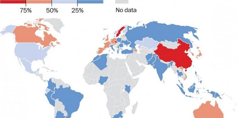 Peta negara paling tidak beragama. Merah menunjukkan paling tidak beragama