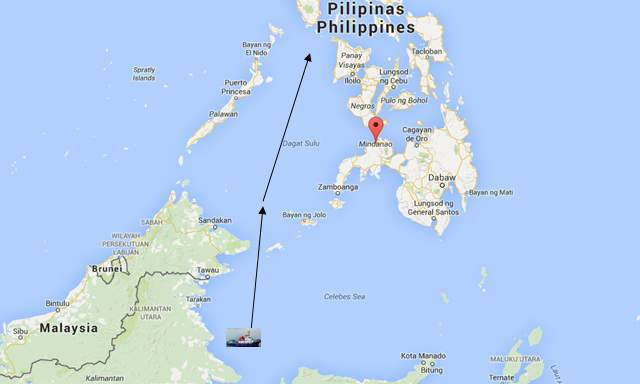 Peta jalur penghadangan kapal Indonesia oleh kelompok Abu Sayyaf