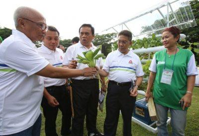Dirjen Pengendalian Pencemaran & Kerusakan Lingkungan Hidup dan Kehutanan Kementerian Lingkungan Hidup & Kehutanan RI Karliansyah (kedua kanan) bersama Sekda DKI Jakarta Saefullah (tengah), Walikota Jakarta Utara Wahyu Haryadi (kedua kiri) dan Chief of Corporate Communications, Social Responsibility & Security PT Astra International Tbk Pongki Pamungkas (kiri) menyimak penjelasan mengenai teknik bercocok tanam hidroponik pada acara Astra Green Run (AGR) Jakarta 2016 (16/10).  (ist)