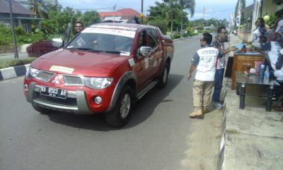 Salah satu peserta pada kejuaraan nasional time rally di Palangkaraya minggu lalu.  (ist)