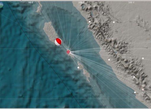 Peta Lokasi gempabumi dan mekanisme sumber. (BMKG)