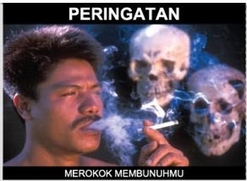 Peringatan bahaya rokok yang terteraa di bungkus rokos.(Repro: Mimbar-Rakyat.com)