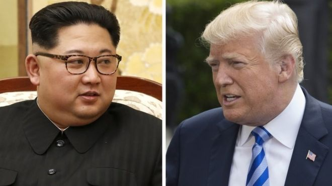 Pimppinan Korut Kim Jong-un dan Donald Trump.(Foto:EPA/BBC News)