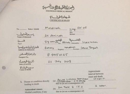 Salah satu surat keterangan kematian (certificate of death) yang dikeluarkan Kantor Kesehatan Haji Indonesia (KKHI). (Foto: https://kemenag.go.id)